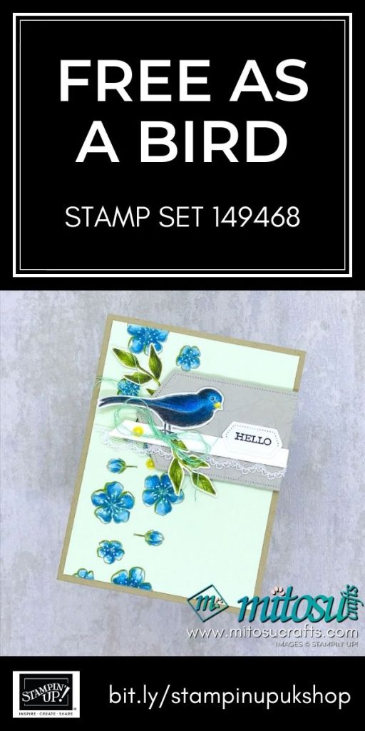 Free As A Bird by Stampin' Up! with Watercolor Pencils. Order online from Mitosu Crafts 24/7