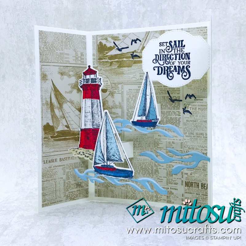 Sailing Home Stampin' Up! Gatefold Pop Up Card for Stamp Review Crew from Mitosu Crafts