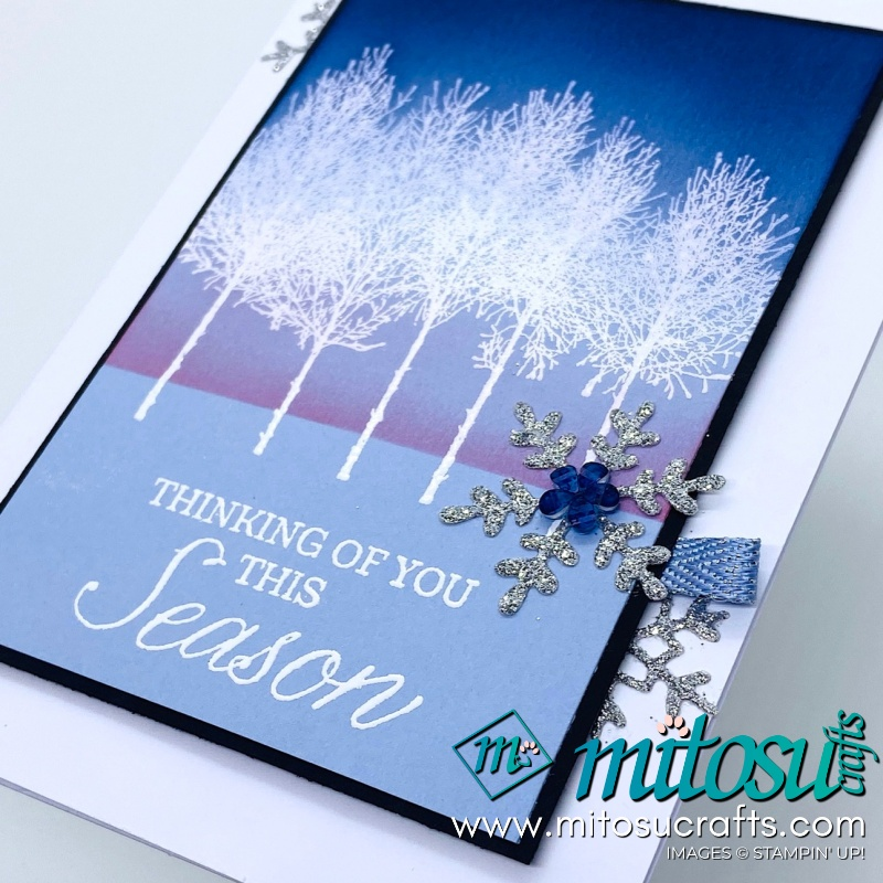 Winter Woods Stampin Up! Project Ideas for Stamp Review Crew from Mitosu Crafts Embossed Winter Card