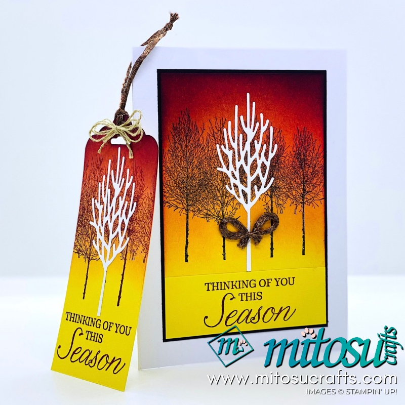 Winter Woods Stampin Up! Project Ideas for Stamp Review Crew from Mitosu Crafts Autumn Card & Tag