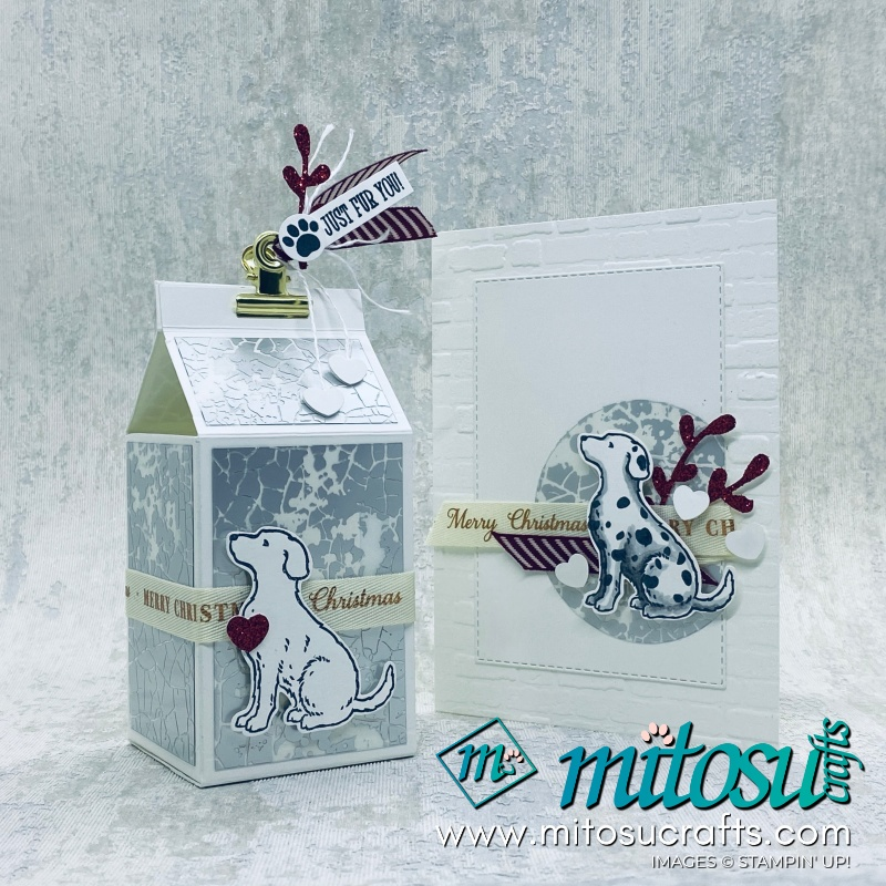Happy Tails Stampin Up! Christmas Card and Milk Box for Stamp Review Crew from Mitosu Crafts