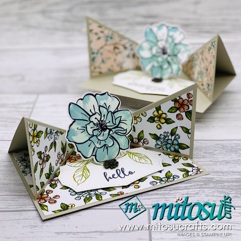 Triangle Corner Pop Up Card Idea with Floral Essence for Creating Kindness blog hop. Order Stampin Up SU products from Mitosu Crafts