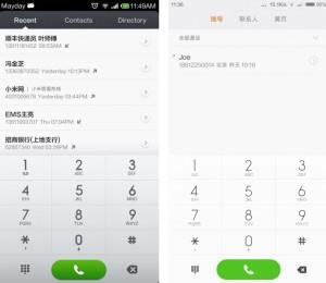 Dialer telefonico MIUI v.6 vs MIUI v.5