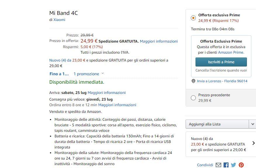 Xiaomi Mi Band 4C offerta amazon