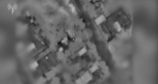 """מצורף תיעוד מתקיפת מטוסי קרב וכלי טיס של צה""""ל על עמדת שיגור ..."""