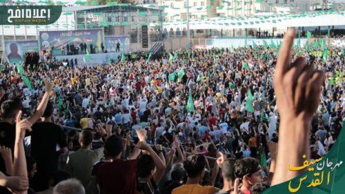 photo5298700161393996674-500x281 חמאס קיים עצרת המונית לרגל ''ניצחון ההתנגדות בקרב על חרב ירושלים''