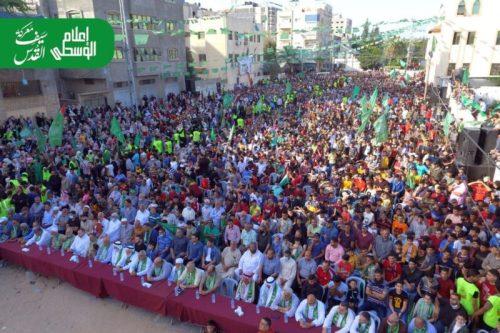 photo5875449402355726033-500x333 חמאס קיים עצרת המונית לרגל ''ניצחון ההתנגדות בקרב על חרב ירושלים''
