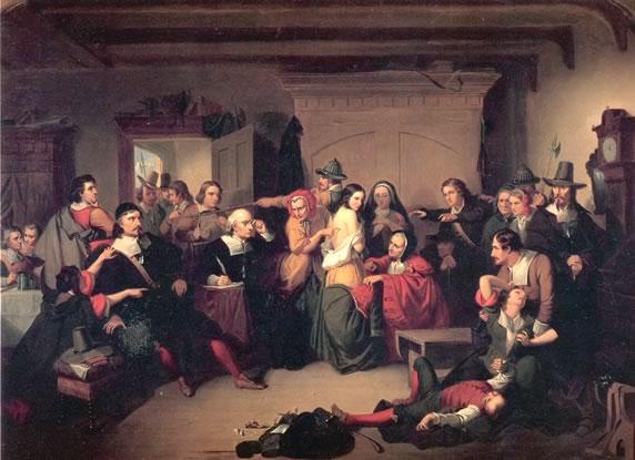 """""""Εξέταση μίας μάγισας"""" στο Σάλεμ. Πίνακας του 1853, από τον Τόμπκινς Χάρισον Μάτεσον."""