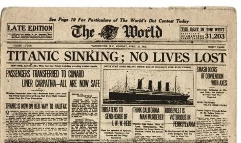 """""""Ο Τιτανικός βυθίστηκε. Καμία απώλεια"""". Το πρωτοσέλιδο που αποτελεί την μεγαλύτερη γκάφα στην ιστορία της δημοσιογραφίας"""