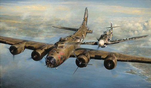Το Β-17 με τον Φρανζ Στίγκλερ να πετάει δίπλα του.