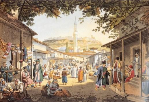 Το υπαίθριο παζάρι της Αθήνας επί Τουρκοκρατίας. Πίνακας του Edward Dodwell