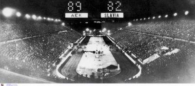 Το νικητήριο ταμπλό στο Παναθηναικό Στάδιο, μετά το τέλος του αγώνα το 68