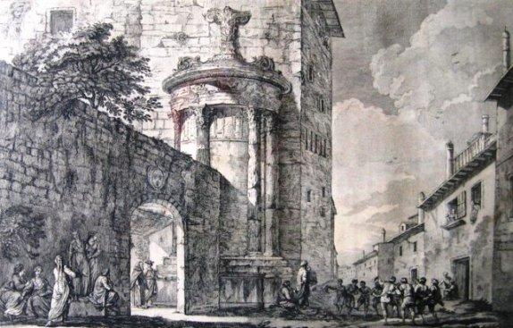 """Το Μνημείο του Λυσικράτη ενσωματωμένο στην Μονή Καπουτσίνων και η οδός Τριπόδων, 1758. Φωτογραφία από """"Η Αθήνα μέσα στο Χρόνο"""""""