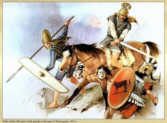 Celtic or Galatian raiders attack Greek guards at the pass at Thermopylae, 270 BC. Art Angus McBride.