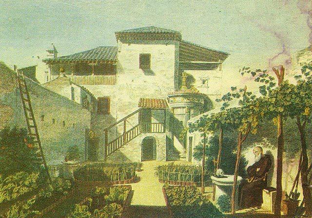 """""""Πίνακας του 1800 και στον οποίον φαίνεται εντοιχισμένο το Μνημείο του Λυσικράτους. Στα δεξιά της εικόνας ο Πατήρ Αγαθάγγελος. Ο διάδοχός του Ουρβανός έσωσε το μνημείο από τον Έλγιν."""" «Η Αθήνα μέσα στο Χρόνο»"""