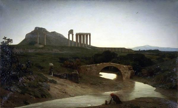 Αθήνα 1852 -1854 περ. Ο Ιλισσός το μονότοξο γεφύρι κοντά στην Αγία Φωτεινή, το Ολυμπίειον και ο Λυκαβηττός. Μια γυναίκα σε πρώτο πλάνο παίρνει νερό από το ποτάμι. Στην αντίπερα όχθη μια γυναίκα άλλης κοινωνικής τάξης με δυτική ενδυμασία και παρασόλι κατηφορίζει προς τον Ιλισσό. 'Εργο του Γάλλου ζωγράφου Alfred de Curzon που εκτέθηκε στο Παρίσι στο Salon 1861 δηλαδή τη έκθεση της Σχολής Καλών Τεχνών. Ο Alfred de Curzon επισκέφθηκε την Ελλάδα μεταξύ 1851 και 1854 μαζί με το γάλλο δημοσιογράφο και συγγραφέα Edmond About και τον μετέπειτα διάσημο αρχιτέκτονα Charles Garnier.