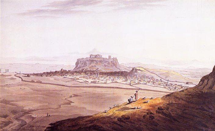 Άποψη της πόλης των Αθηνών, σε πίνακα του Richard Temple, όπως την αντίκρισαν ο λόρδος Βύρωνας και ο βαρώνος Hobhouse το έτος 1810. Στο αριστερό άκρο της εικόνας διακρίνεται η Πύλη του Αδριανού και στο δεξιό το Θησείο. Σε πρώτο πλάνο αριστερά, η ρεματιά που αργότερα εξελίχθηκε στις οδούς Δημοκρίτου-Βουκουρεστίου (Πηγή: J. C. Hobhouse, A journey through Albania and other provinces of Turkey in Europe and Asia, to Constantinople, during the years 1809 and 1810, Λονδίνο 1813).