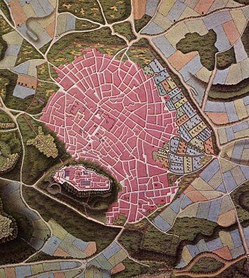 Χάρτης της Τουρκοκρατούμενης Αθήνας σχεδιασμένος από τον Coubault, περί το 1800. Εκτός από την κατοικημένη περιοχή, εντός των τειχών, περικλείονται μη οικοδομημένες εκτάσεις, χέρσες αλλά και καλλιεργημένες, προς τα βόρεια και τα βορειοανατολικά (Πηγή: Ι. Μελετόπουλος, Αθήναι 1650-1870, έκδοση Τράπεζας Πίστεως, Αθήνα 1979).