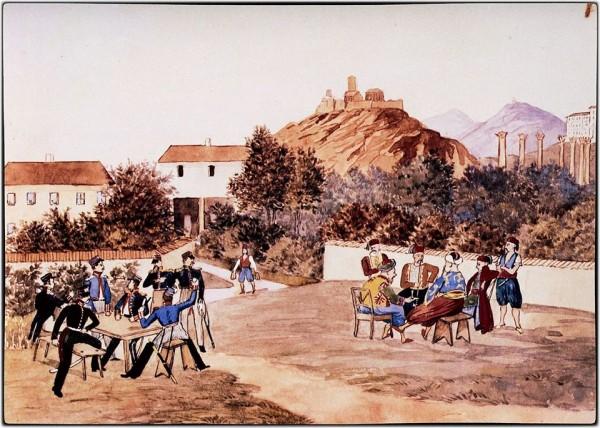 """Στην Αθήνα του Όθωνα, 1837. Υδατογραφία. - Ludwig Köllnberger. """"Βαυαροί αξιωματικών και στελέχη της Τουρκικής πρεσβείας στην Αθήνα σε χωριστές παρέες. Η πρώτη παρέα εύχεται στην δεύτερη παρέα «Εις υγείαν». Köllnberger Ludwig (1811-1892). Εθνικό Ιστορικό Μουσείο.""""Στο βάθος η Ακρόπολη με τον Πύργο του Σερπεντζέ. Δεξιά οι Στύλοι του Ολυμπίου Διός. Πιθανόν η μπυραρία ΦΙΞ."""