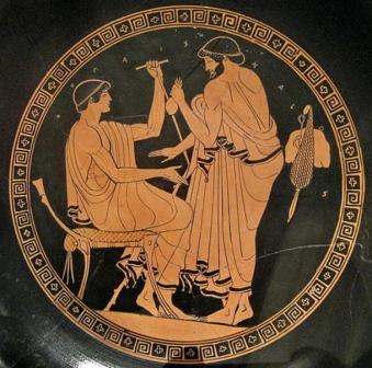 Άνδρας προσεγγίζει νεαρό για ερωτική συνεύρεση με αντάλλαγμα ασημένια νομίσματα. Ευθρόμορφος κύλικας του αιώνα π.Χ. στο Μητροπολιτικό Μουσείο Σύγχρονης Τέχνης στη Νέα Υόρκη