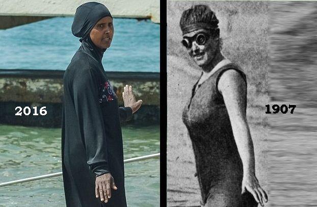 """Παράξενος κόσμος. Πριν από 109 χρόνια συνελήφθη η πρώτη κολυμβήτρια που φορούσε «αποκαλυπτικό» μαγιό και έγινε στάρ στο Χόλιγουντ. Σήμερα οι αστυνομικοί επεμβαίνουν για να """"γδύσουν"""" όσες φορούν μπουργκίνι στις παραλίες"""