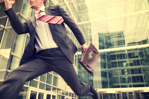 Businessman Makes Heroic Dash from Office