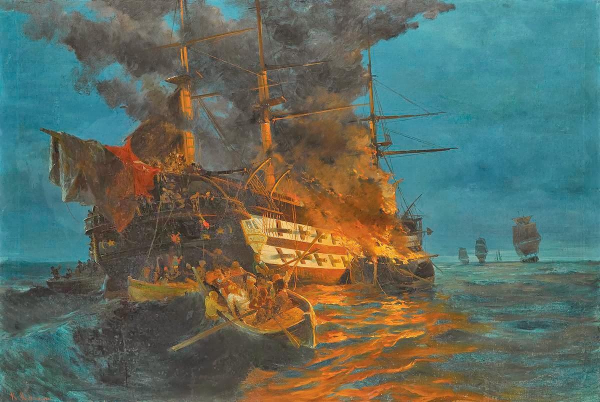 Πώς τα πυρπολικά εξελίχθηκαν σε ένα τρομερό πολεμικό όπλο στα χέρια των Ελλήνων ναυτικών του 1821. Οι κυβερνήτες τους Παπανικολής, Πιπίνος και Ματρόζος έδωσαν τα ονόματά τους στα θρυλικά υποβρύχια