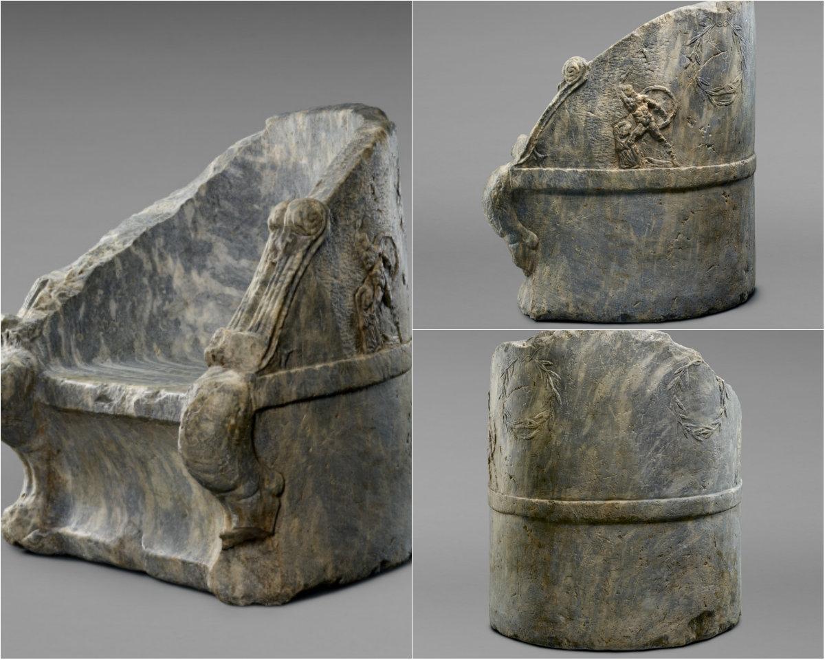"""""""Ο θρόνος του Έλγιν"""". Ένα ακόμη αριστούργημα που άρπαξε ο βρετανός αρχαιοκάπηλος από την Αθήνα. Απεικονίζει τον Θησέα και τους τυραννοκτόνους και πουλήθηκε στο μουσείο Getty"""