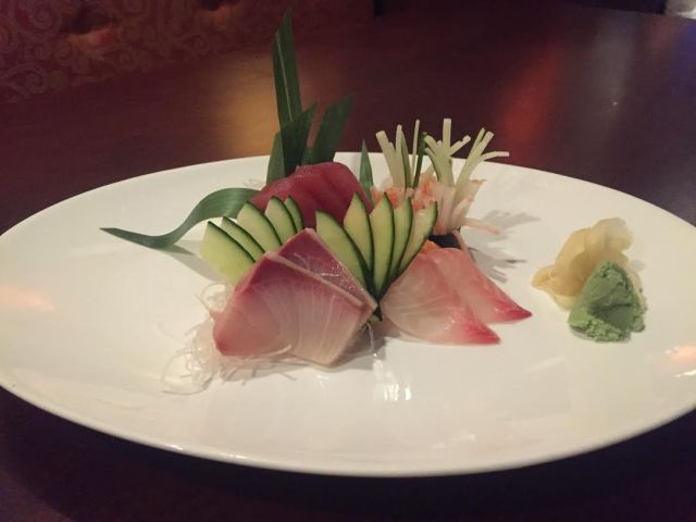 Sashimi refers to a thin slice of raw fish