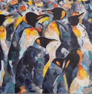 Pinguïns - Verkocht / Acryl op doek 60 x 60