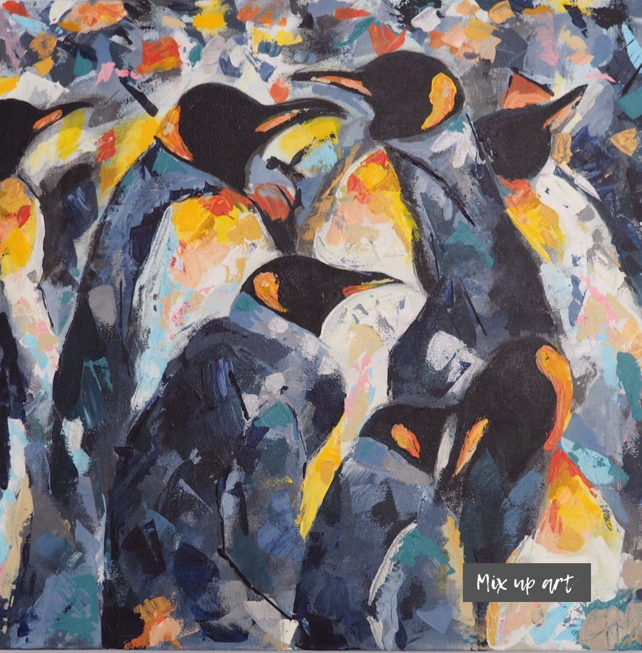 Pinguïns - Verkocht Acryl op doek (60 x 60)