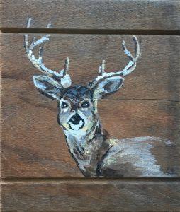Rendier - €25,- / Acryl op hout 15 x 15