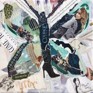 Vlinder - € 25,- / Collage op canvas 19 x 19