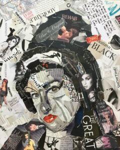 Amy Winehouse - Verkocht / collage op canvas 40 x 50