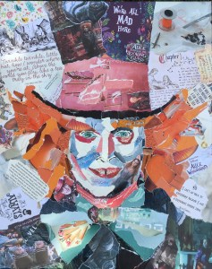 Mad Hatter- €450,- / collage op canvas 40 x 50