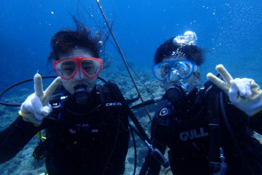 中の島で体験ダイビング