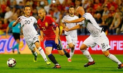 / Un momento del partido entre España y Albania disputado en Alicante (España), el 6 de octubre de 2017./ Heino Kalis / Reuters