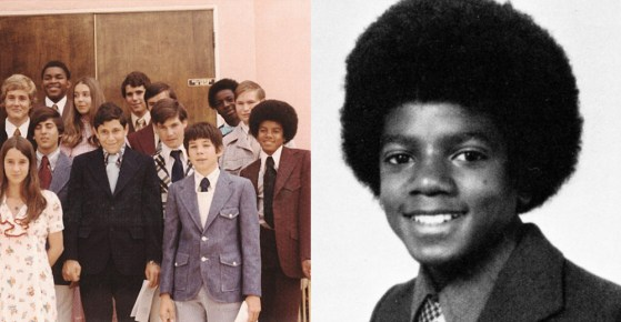 Michael Jackson during his highschool days at Montclair Prep School in Van Nuys, California. |  In Photos: (Left- source: Christie's Auction) Michael and his classmates (right- source: Seth Poppel Year Book Library) Michael's Year Book Photo