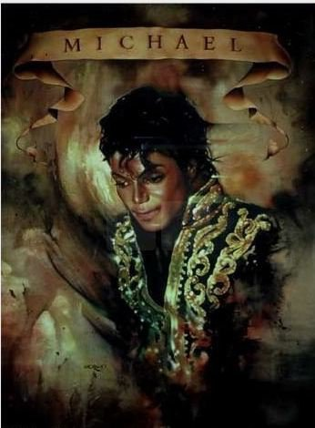 """MJ in Gold"": ink, watercolor and pastel on brown paper, painted by Nate Giorgio"