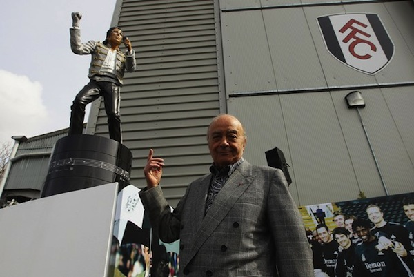 Mr. AlFayed and the MJ Statue at Craven Cottage