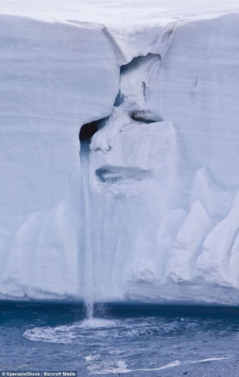 This photo of the Austfonna Ice Cap melting was taken by marine photographer Micahel Nolan, the sad, sad face of mother nature is shown sobbing as the ice slowly melts away. This photo appeared on the internet the day Michael was interred at Forest Lawn, September 3, 2009