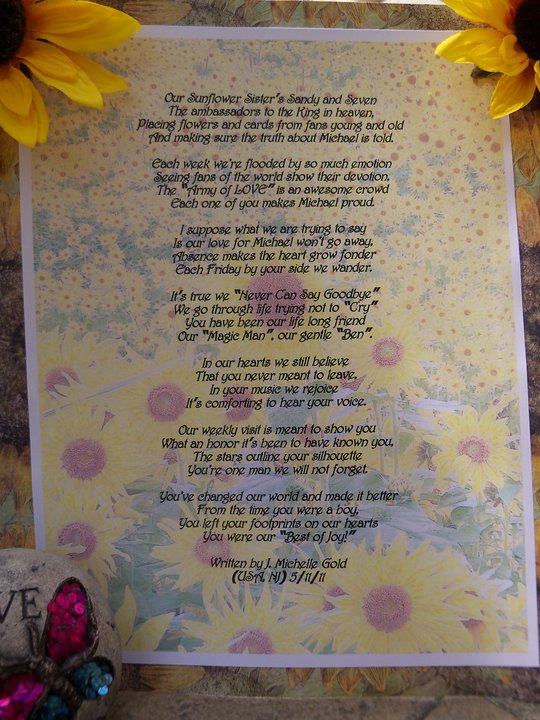 The Sunflowers for Michael Story, in poetic form, with a very touching ending.