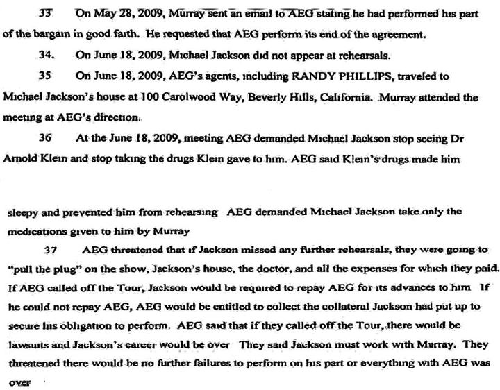 From wrongful death suit Jacksons have against AEG. I believe June 18th date may be incorrect, as it was said in testimony to be June 19th