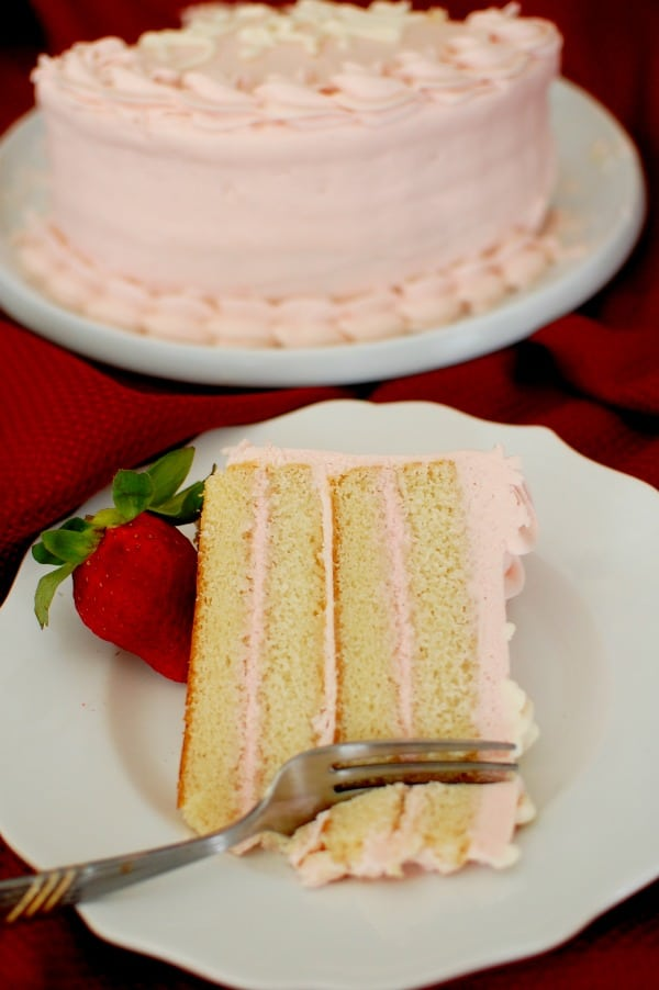 Moist White Layer Cake With Fresh Strawberry Cream Cheese Frosting
