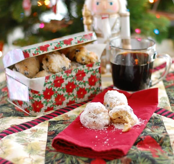 Delight your family and friends with delicious bite-size German Christmas stollen, a traditional holiday treat in a non-traditional shape that's easy to make.   mjbakesalot.com