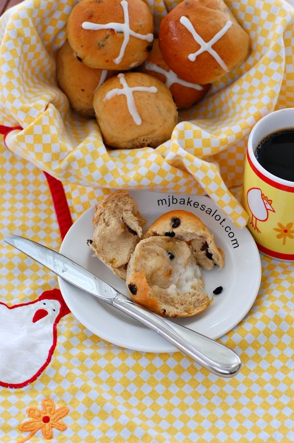 Whether they're still warm from the oven or re-heated in a microwave, just pull one apart, add a pat of butter, and enjoy a hot cross bun with coffee, tea, or milk.   mjbakesalot.com