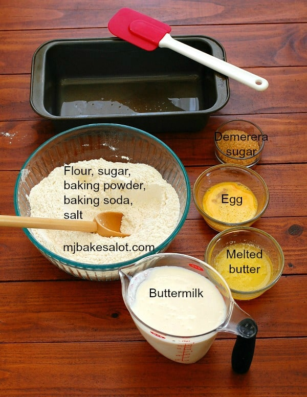The dry ingredients for this American-Style Irish soda bread are combined, and the wet ingredients are ready to be stirred in. | mjbakesalot.com