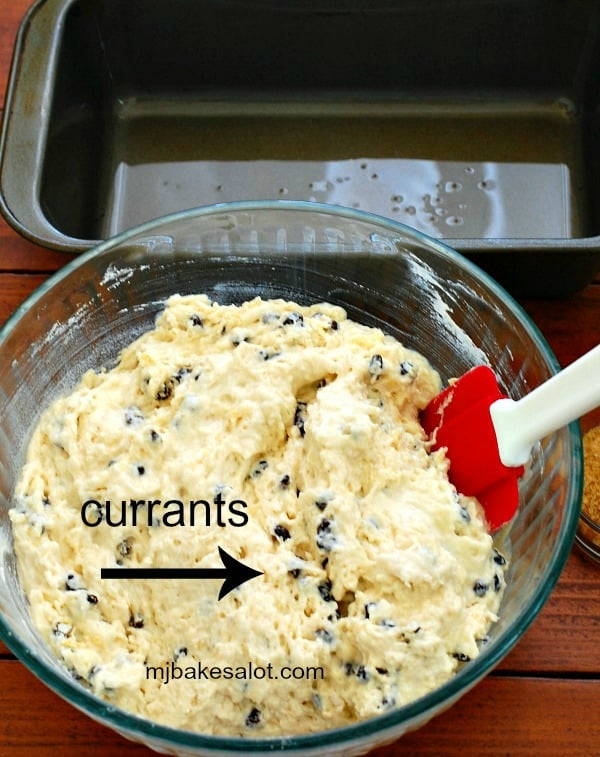 The Irish soda bread batter mixes together quickly and shows a nice distribution of the currants. | mjbakesalot.com