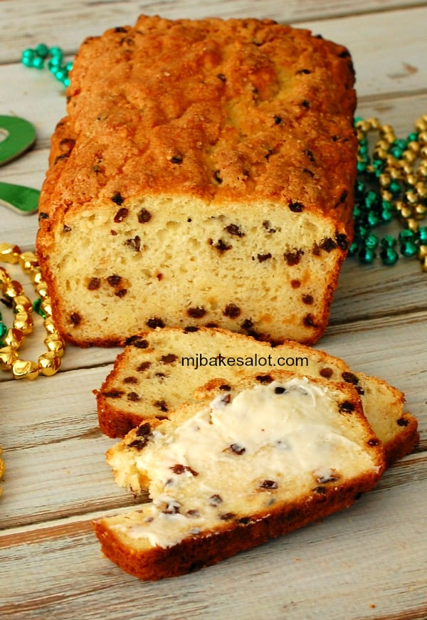 A thin slice of this American-style Irish soda bread with a thick layer of butter is a delightful treat any time of day, any day of the year, not just on St. Patrick's Day. | mjbakesalot.com