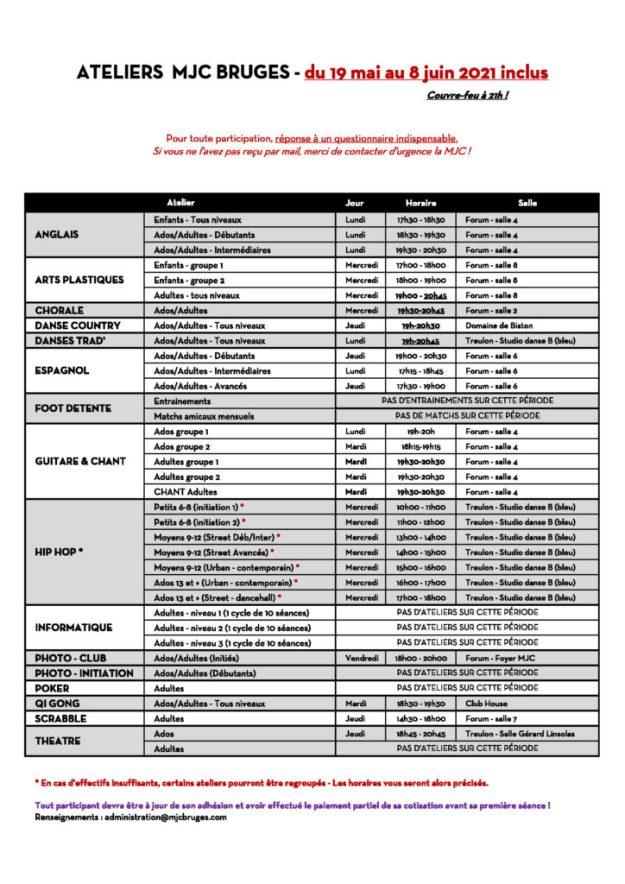 Planning ateliers hebdomadaire du 19/05 au 08/06